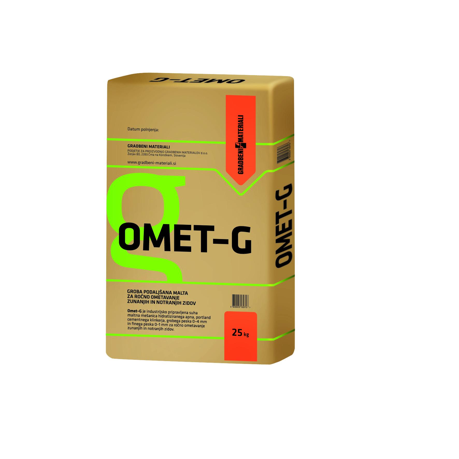 ZUNANJI IN NOTRANJI OMET OMET-G 25kg, GRADBENI MATERIALI