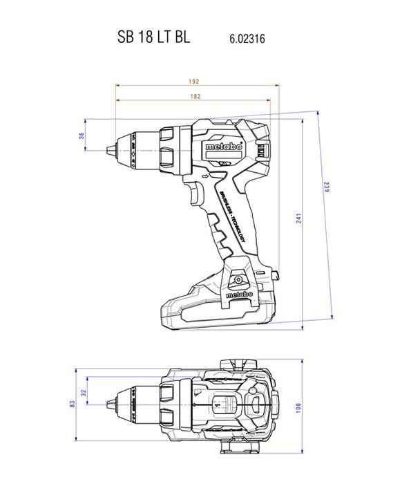 baterijski udarni vrtalnik sb 18 lt bl metabo topdom 2 1